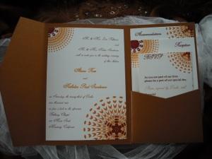Sassy Sunburst Wedding Invitation in Copper, Orange and Burgundy
