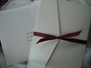 Champagne Pocketfold Invitation with Burgundy Ribbon