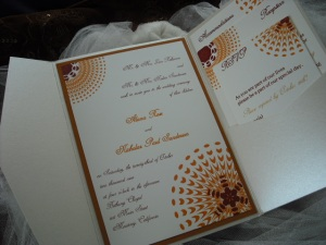 Sassy Sunburst Fall Wedding Invitation in Burgundy, Orange and Champaign