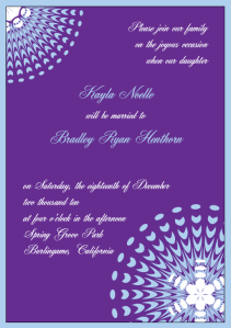 Purple and Ice Blue Snowflake Wedding Invitation