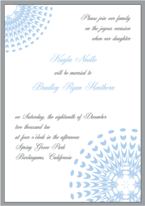 Ice Blue and Silver Snowflake Wedding Invitation